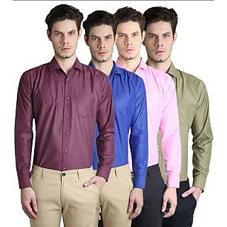Ave Fashion Cotton Blend Full Sleeves Shirts For Men-Pack Of 4