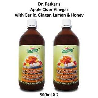 Dr.PatkarS Apple Cider Vinegar Garlic, Ginger, Lemon And Honey (500 Ml X 2) Pack Of 2