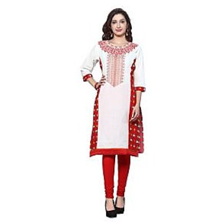 HIVA Womens new white and red dotted printed 3/4th sleeve boat neck kurti