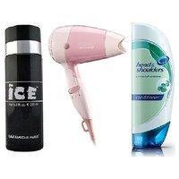 Hair Dryer + Head  Shoulder Shampoo +Ice Deo