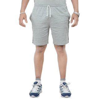 Grey Cotton Men Shorts