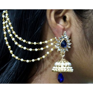 Dark Blue Drop Jhumka With Pearl Ear Chain Earring