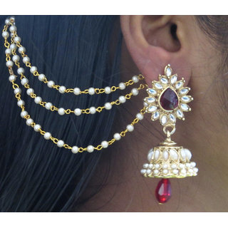 Shree Mauli Gold Plated Maroon Alloy Jhumkis for Women