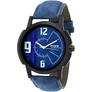 Oura-BLDN-265 Round Blue Dial Leather Casual Wear Watch For Men