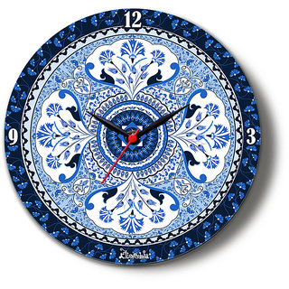 Blue Buds Glass Clock