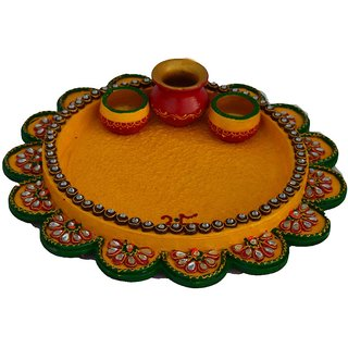 Papier-Mache Radiant Yellow Pooja Thali with Kalash