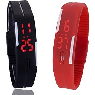 bbc408b09 Ture choice Digital LED Band Watch for Kids Combo (Red + Black) By Crazy  Online