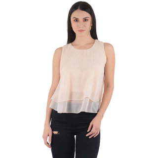 Westrobe Womens Beige Plain Crop Top