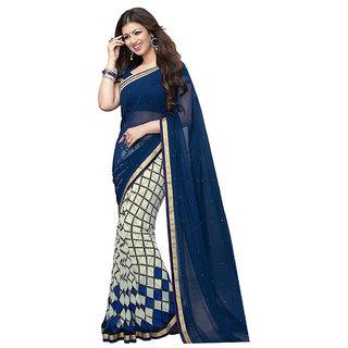 Sudev Blue Art silk Printed Party Wear Saree