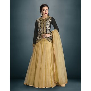 Thankar Black  Cream Embroidered Banglori Silk Anarkali Suit