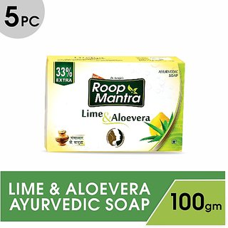 Roop Mantra Lime  Aloe-Vera Ayurvedic Soap (Pack Of 5)