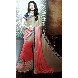 Sarees Satin Chiffon Half Half Style Saree for Women Party Wear
