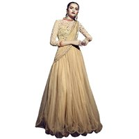 Triveni Glorious Beige Colored Embroidered Net Gown