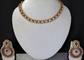 White and Pink Pearl Polki Necklace Set
