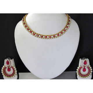 White and Pink Tilak Pearl Polki Necklace Set