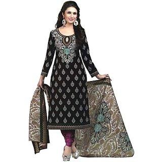 cottoncollection Cotton Printed Salwar Suit Dupatta Material Un stitched  Black Colour