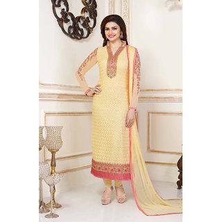 CRAFTLIVA Light Yellow Embroidered Georgette Straight Suit