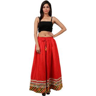 Gurukripa Shopee Gorgeous Red Cotton Solid  Skirt GKS014