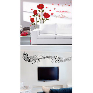 Pvc Romantic Roses And Black Musical Butterfly Wall Sticker (20X24 Inch)