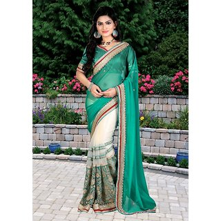 Thankar online trading Green Georgette Embroidered Saree With Blouse