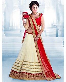 Craftliva New Designer Red and White Colour Lehenga Choli