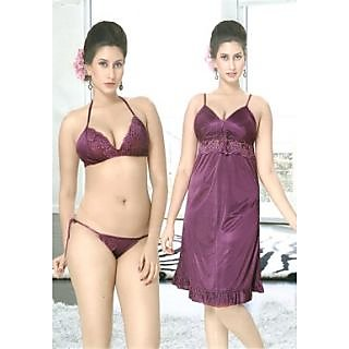 Sweet Night Dark Purple 3 Piece Babydoll Set