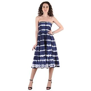 4271b286d03 Buy Ruhaans Blue Cotton Off Shoulder Knee Length Tube Dress Online ...