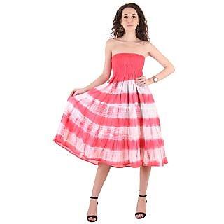 0c45427cf7c Buy Ruhaans Pink Cotton Off Shoulder Knee Length Tube Dress Online ...