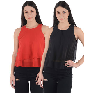 Westrobe Womens Red n Black Plain Crop Top Combo of 2
