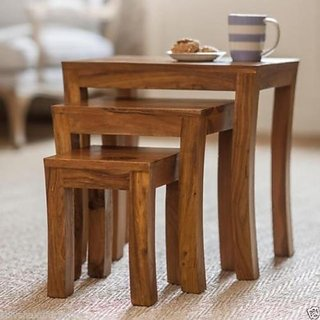 USHA Furniture Sheesham Wood Set Of 3 Stools (Brown)