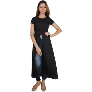 SuAndJay Maxi Dress Poly Moss Georgette  Black