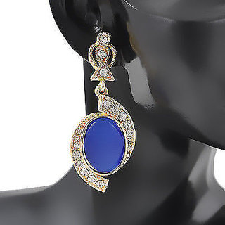 Ladies Womens Girls Earrings Partywear Stud Filled Crystal Rhinestone Blue Dangle High Fashion Very Trendy