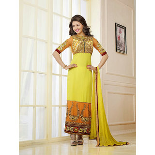 Ladyview Yellow Embroidered Georgette Straight Suit