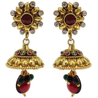 Jewelscart Traditional Red Green Gold Plated Antique Drop Earring