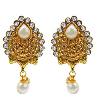 Jewelscart Traditional Cz Gold Plated Antique White Pearls Drop Earring