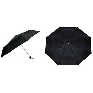 Set of 2 - Black Nylon Cloth Umbrella (2 Fold and 3 Fold)