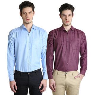 AVE Fashion Full Sleeves Plain Cotton Shirt For Men- Pack Of 2