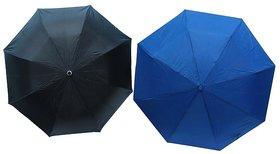 Set of 2- Black and Blue (2 Fold and 3 Fold) Nylon Cloth Umbrella