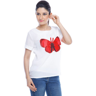Designeez White Embroidered Patch Of Butterfly Cotton Top