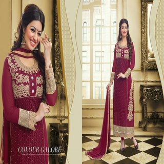 RapidDukan Un-Stitched Purple Color Straight Long Salwar Suit Dupatta Material SF629