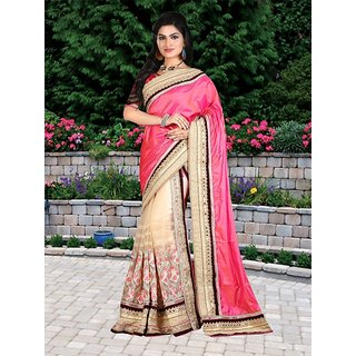 Thankar online trading Beige Georgette, Net Embroidered Saree With Blouse