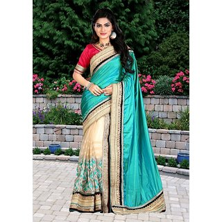 Thankar online trading Beige Georgette Embroidered Saree With Blouse