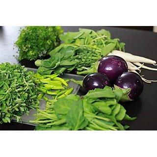 Seeds-Vegetable Combo - Brinjal Round, Radish, Methi, Palak, Beans 6 Pack