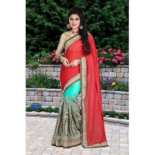 Ladyview Red  Aqua Multy Work Lycra Silk  Nylon Net Half And Half Bollywood Designer Saree