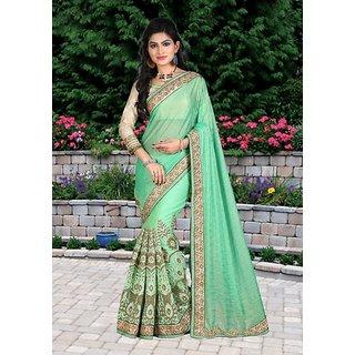 Ladyview Green Multy Work Lycra Silk  Nylon Net Bollywood Designer Saree