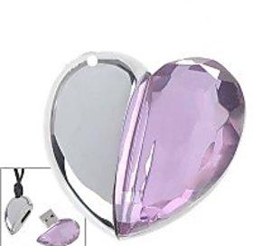 Microware Crystal Pink Heart Shape 8 GB Pen Drive