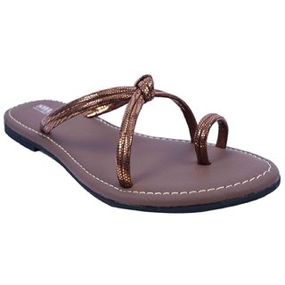 864621745 Brown Colour Leather Flat Sandals for Women - SWANSIND