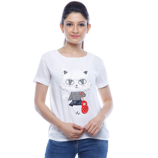 Designeez White Embroidered Patch Of Cat Cotton Top