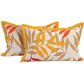 Printed Pillows Cover(Pack of 2, 46 cm71 cm, White, Orange, Yellow)