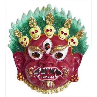 Mahakaal Mask Metal Wall Hanging ( RED) (5 INCH)